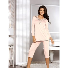 Elegantes Pyjama Estia von Babella Natural Night Fashion - Pfirsich
