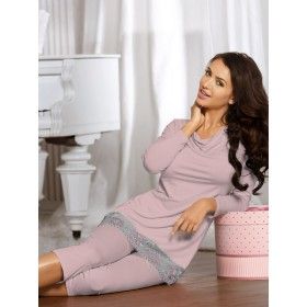 Elegantes Pyjama Frida von Babella Natural Night Fashion - Magnolie
