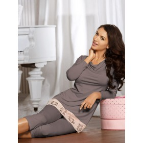 Elegantes Pyjama Frida von Babella Natural Night Fashion - Mocca