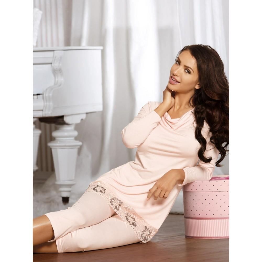 Elegantes Pyjama Frida von Babella Natural Night Fashion - Pfirsich