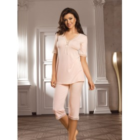 Elegantes Pyjama Selena von Babella Natural Night Fashion - Pfirsich